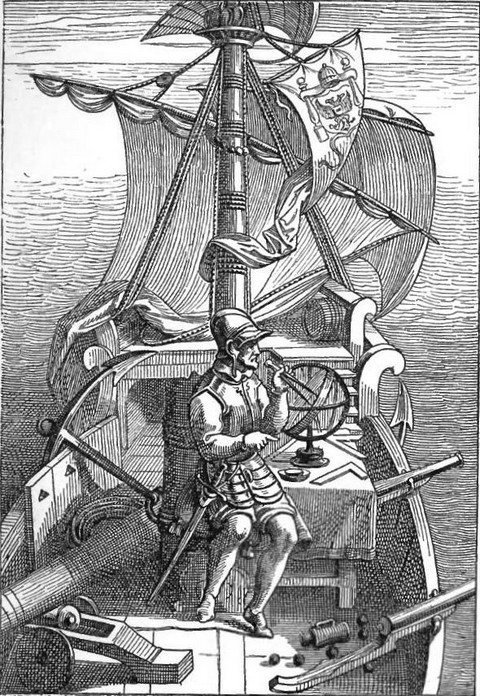 Magellan on board his caravel
