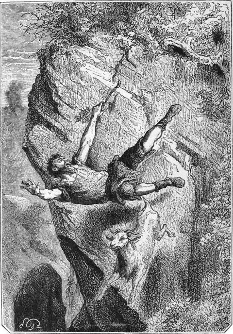 Selkirk falling over the precipice with his prey