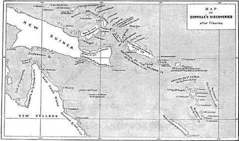 Map of Surville's discoveries, after Fleurieu