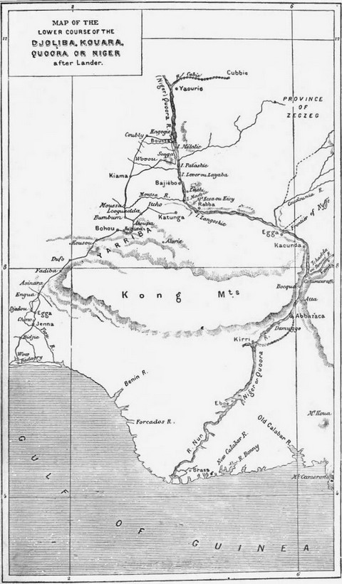 Map of the Lower Course of the Djoliba, Kouara, Quoora, or Niger