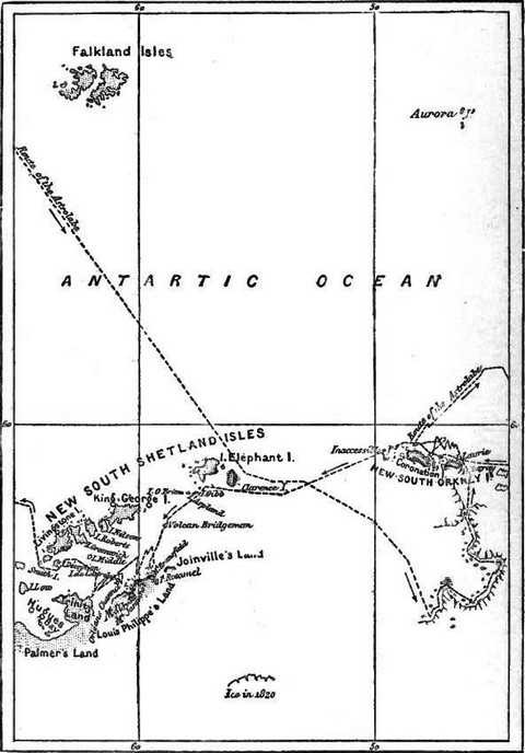 Reduced Map of D'Urville's discoveries in the Antarctic regions